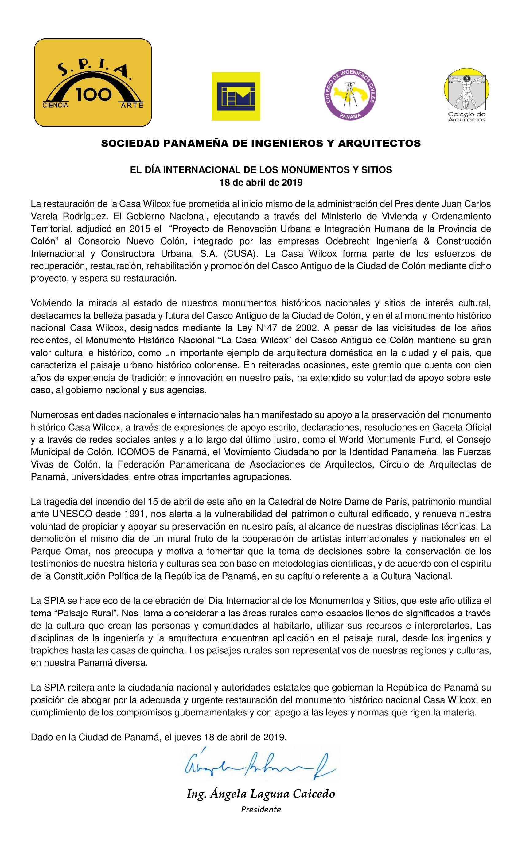 COMUNICADO DÍA INTERNACIONAL DE MONUMENTOS