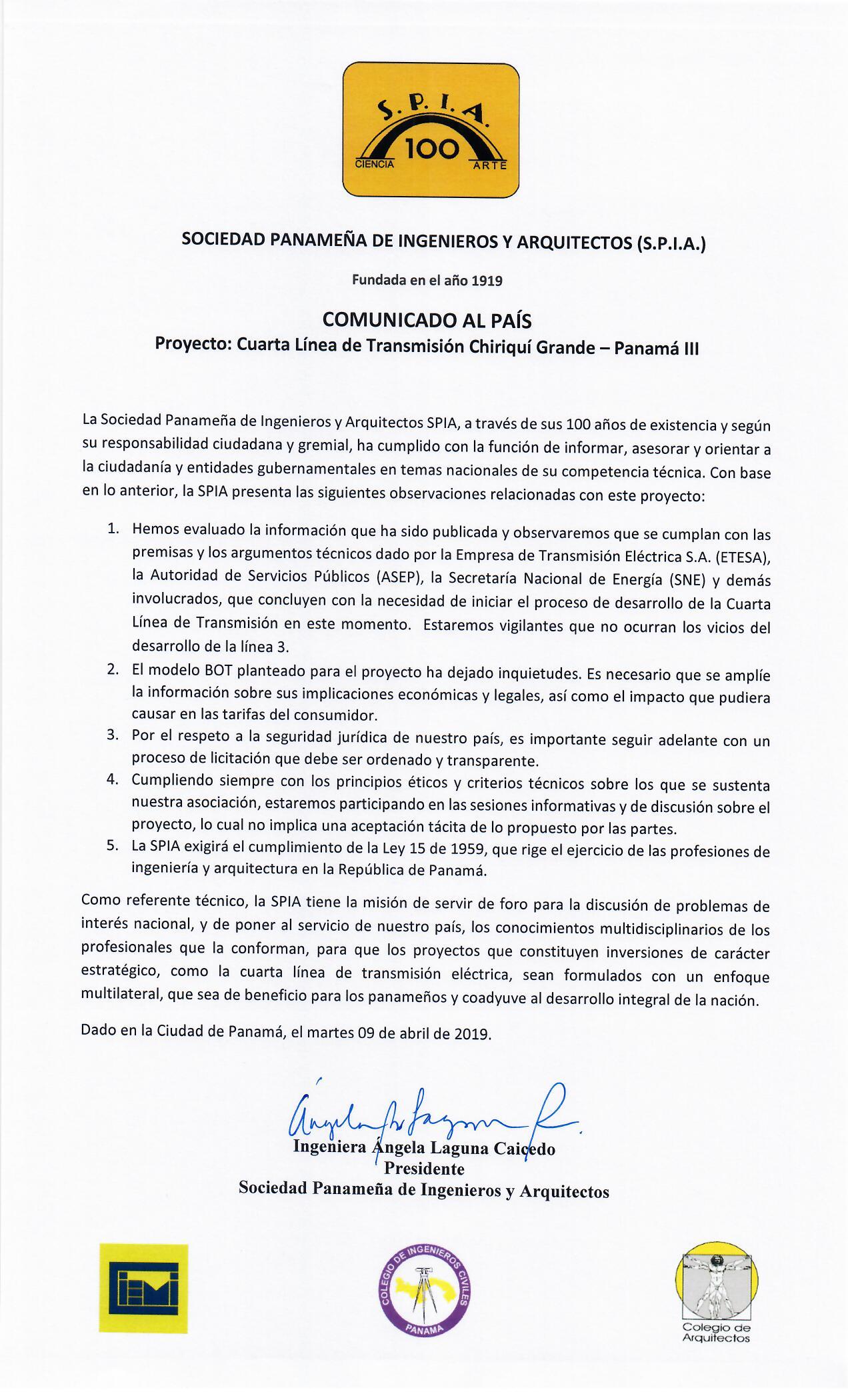 COMUNICADO III LÍNEA DE TRANSMISIÓN