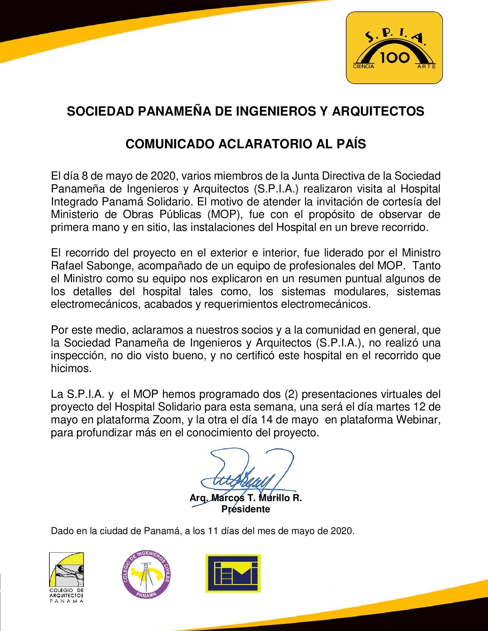 COMUNICADO-ACLARATORIO-AL-PAÍS-HOSPITAL-PANAMÁ-SOLIDARIO-11-MAYO